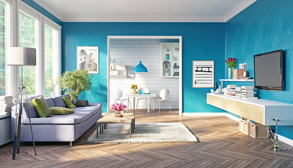 Affordable Home Improvements: Give Bright Colors the Brush Off  Room with bright turquoise colored walls